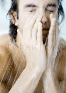 Image of 'men, shower, shut eyes'