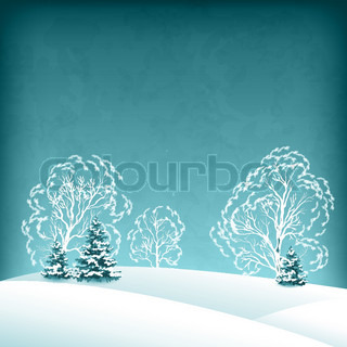 Vector winter landscape with fir trees