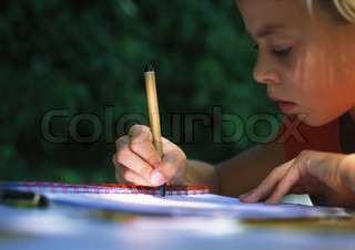 Image of 'child, write, outside'