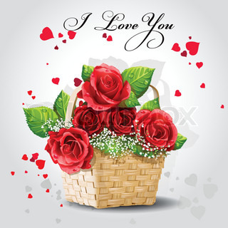 Red roses in a basket on a gray background