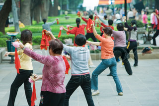 Image of 'tai chi, outside, group'