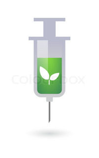 Syringe with a plant