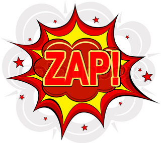 Cartoon ZAP! on a white background. Vector illustration.
