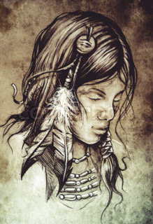 American indian woman, Tattoo sketch, handmade design over vintage paper