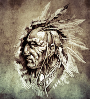 Sketch of tattoo art, American Indian Chief illustration on vintage paper, handmade illustration