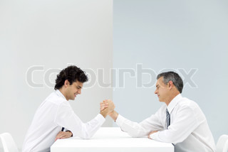 Image of 'arm wrestling, balance, sitting'