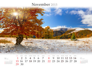 Calendar 2015. November. Beautiful autumn landscape in the mountain forest
