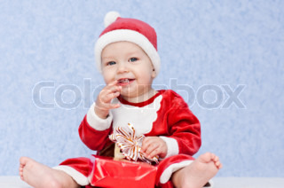 cute baby boy santa helper