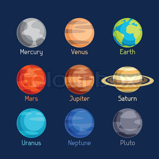 Solar system with 8 planets | Vector | Colourbox