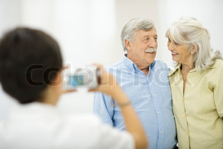 Image of 'old people, photographing, smile'