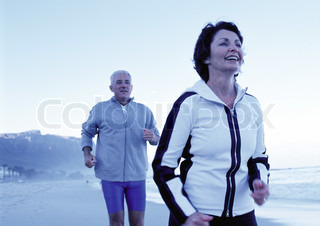 Image of 'running, senior, couple'