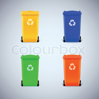 Colored waste bins with the lid closed