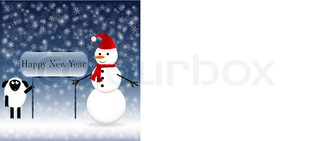 Snowman in a red scarf with a sheep