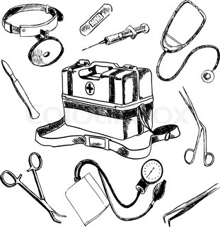 doctor medical case laboratory accessories sketch icons Funny Medical Clip Art Free Free Clip Art Medical Icons