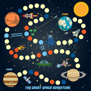 Space quest game with start finish and astronomy icons on ...