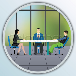 Business people sitting at the negotiating table in the office.