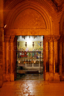 Stone of Unction Night View, Temple of the Holy Sepulcher, Jerusalem