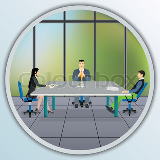 Business people sitting at the negotiating table in office.