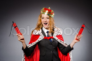 Woman queen businesswoman with dynamite