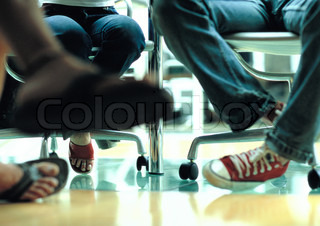 Image of 'sport shoe, leg, business meeting'