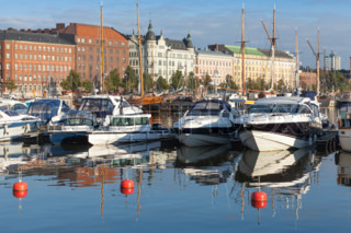 Yachts and motor boats moored in Helsinki, Finland