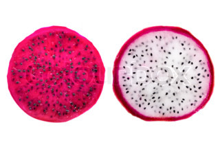 slices red and white dragon fruit, Pitaya is the plant in Cactaceae family or Cactus is isolated on white background