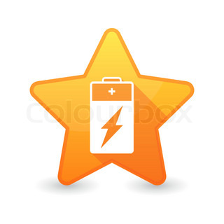 Isolated star icon with a battery
