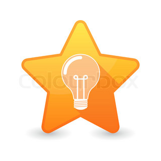Isolated star icon with a light bulb
