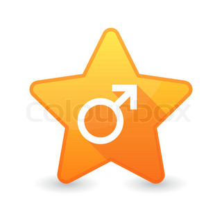 Isolated star icon with a male sign