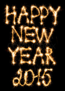 Happy New Year 2015 made of sparkles on black