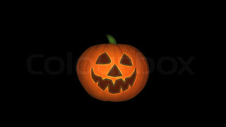 Jack-o-lantern Winking Animation. Halloween pumpkin animation, black background, looping.