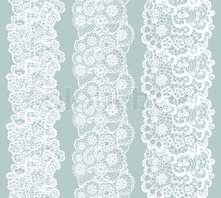 Lacy vintage trim. Set of white lacy vintage elegant trim.
