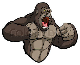 Vector illustration of Angry gorilla cartoon character ...