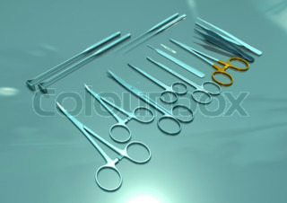 Basic surgical instruments placed on steel.
