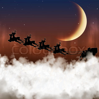 Santa Claus is flying on a background of the moon