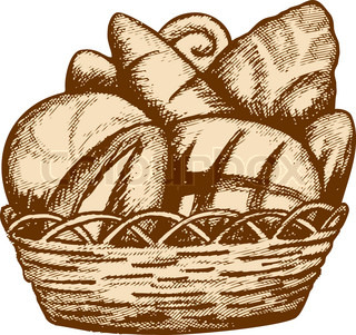 Vector Food Bread Loafs And Rolls In A Wattled Basket Contour Vector Colourbox