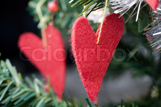 Christmas heart shaped decorations