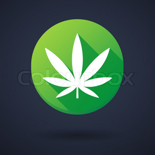 Long shadow round icon with a marijuana leaf