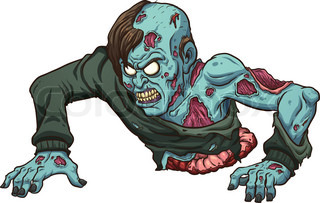 zombie with no legs crawling vector clip art illustration
