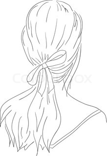Beautiful Woman With Hairstyle View From Back Stock Vector - Drawing a hairstyle