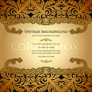 Vintage vector card design, royal gold ornament, luxury border, background, page for text, victorian style, rich element for wedding decoration and invitation creative design.