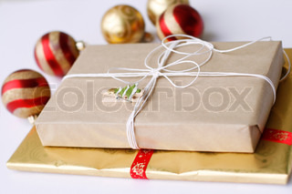 Christmas gifts and bauble decorations