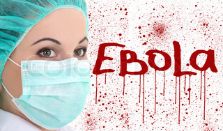 ebola concept - young female doctor in surgeon mask isolated on white