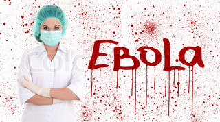 ebola concept - young female doctor or nurse in surgeon mask isolated on white