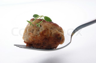 one grilled mince ball on a fork