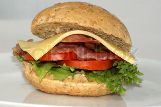 cheese burger with tomato and organic salad