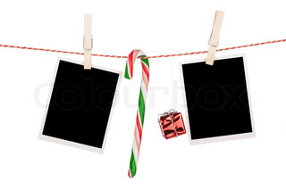 Blank Photo Frames And Snowman Hanging Stock Photo Colourbox
