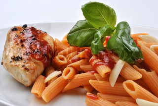 pasta with grilled turkey breast and home made tomato sauce