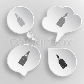 Glue bottle. White flat vector buttons on gray background.
