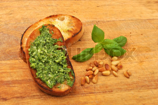 baguette as a snack with homemade fresh pesto